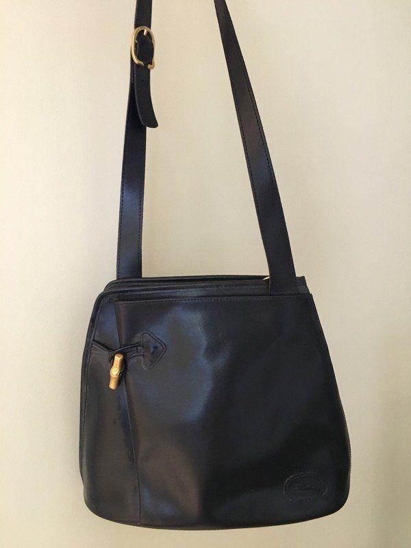 sac Longchamp Paris, roseau, tres bon état vintage, cuir lisse ...