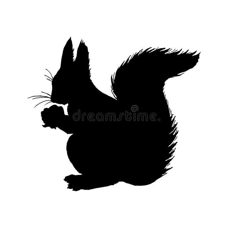 eichhörnchenschattenbild schwarze weiße ikone auch im
