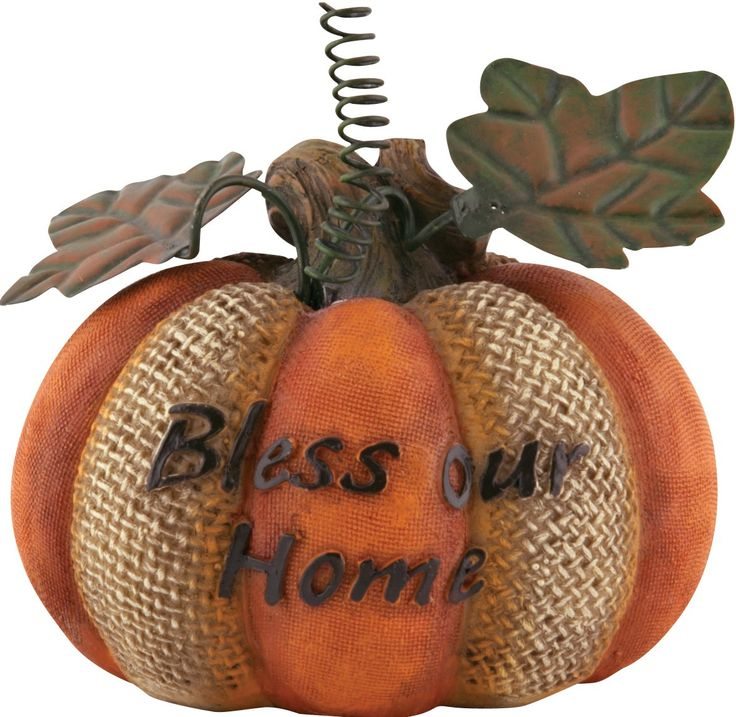 "[""Add a fun and rustic touch to your fall decor this year with this inspirational ceramic pumpkin. Alternating orange canvas and woven burlap textures give this lovely pumpkin a true harvest look. Topped with leaves made of wire and metal, the ceramic pumpkin shares the message, \""Bless Our Home.\"" Perfect as a centerpiece or simple accent, this little pumpkin will add a splash of color to your harvest home decor. Product Details:<\/b>Dimensions: 2-1\/2\""(H) x 3-3\/5\""(Dia)""] $5.99"