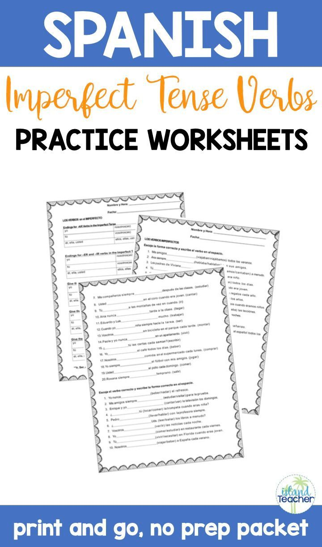 Spanish Imperfect Tense Verbs Practice Worksheets Verb Practice Imperfect Tense Spanish Spanish Lesson Plans [ 1224 x 720 Pixel ]