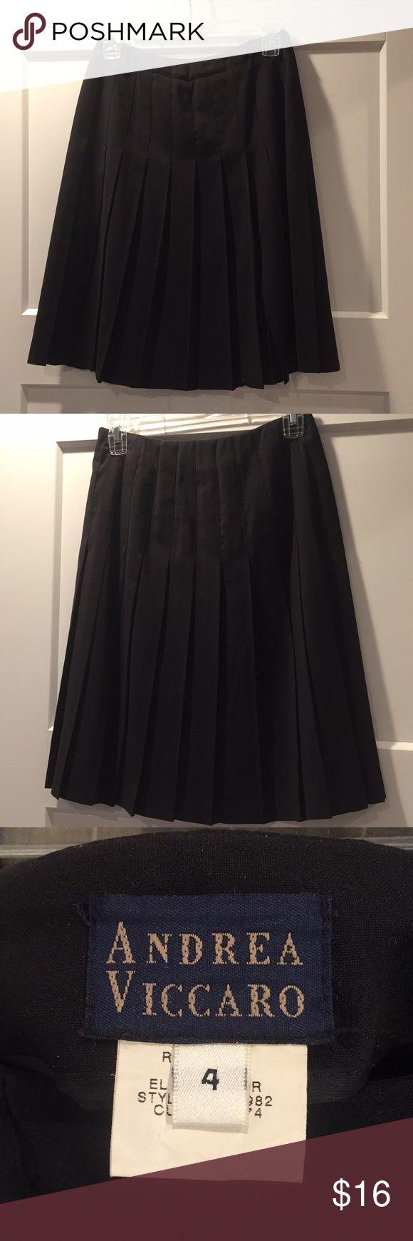 Pleated Skirt (Andrea Viccaro) Black, knee-length, pleated skirt. Andrea Viccaro design. Size 4. No stains, like new condition. Skirts