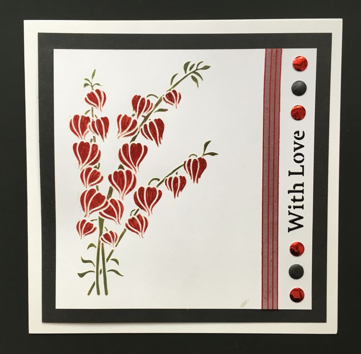 Created by Tracy Nutton using Sweet Poppy Stencils 'Chinese Lanterns' and 'With Love' Stencils, pearlescent paste, black paste, glitter and versamagic chalk inks.