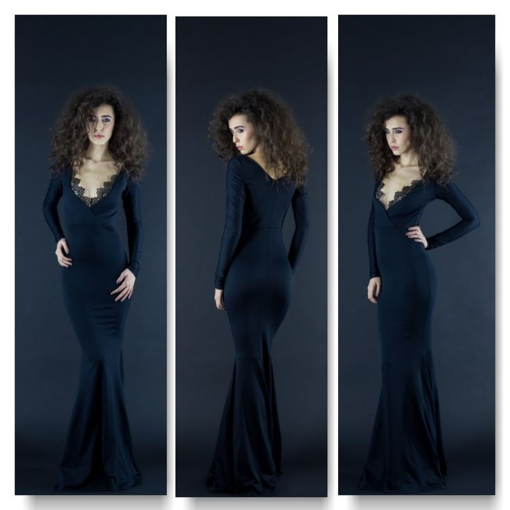 Black long dress with lace detail on neckline Price: 400 RON