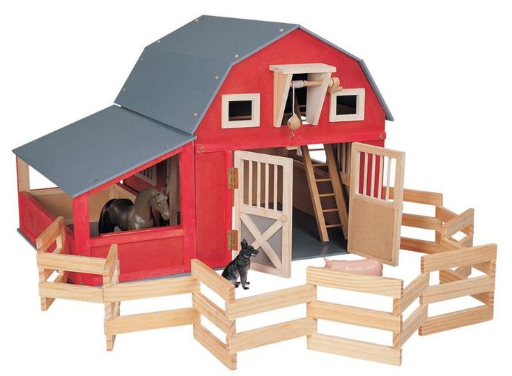 Gable Barn With Side Stall Blueberry Forest Toys Kids
