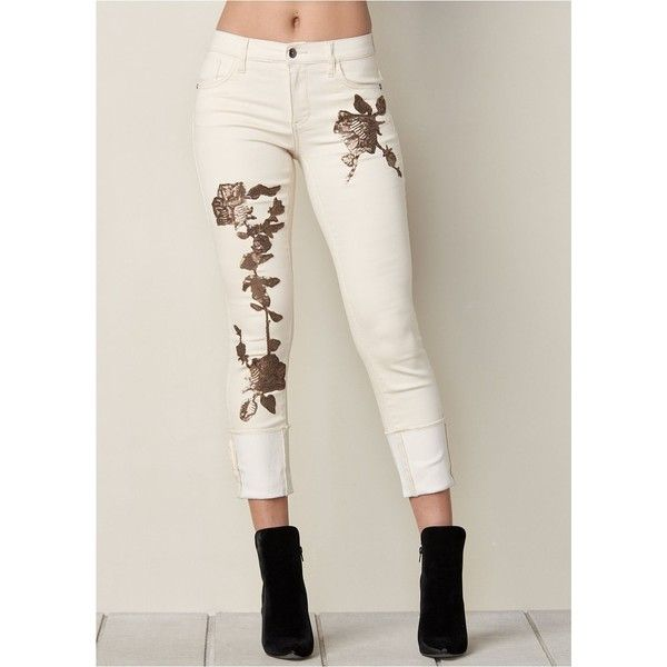Venus Women's Floral Sequin Cuffed Jean Jeans ($49) ❤ liked on Polyvore featuring jeans, white, button-fly jeans, zip jeans, floral jeans, cuffed jeans and sequin jeans