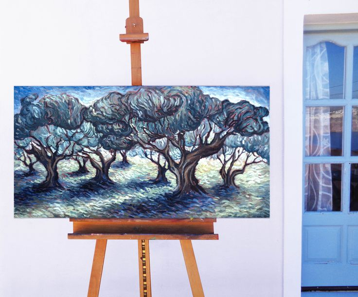 Olive trees - Oil on canvas, 50cm x 100cm / Ελαιώνας - Λάδι καμβάς, διαστάσεις 50cm x 100cm #santorini #olive_trees #oil_painting #mediterranean