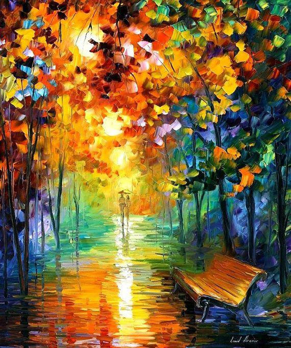 Misty Park 2 — PALETTE KNIFE Landscape Park Oil Painting On Canvas by Leonid Afremov, AfremovArtStudio: $319.00