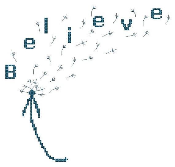 Dandelion Believe Counted Cross Stitch Pattern by TheGiftMarket, $3.00