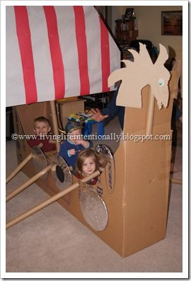 The most epic cardboard Viking boat known to man.