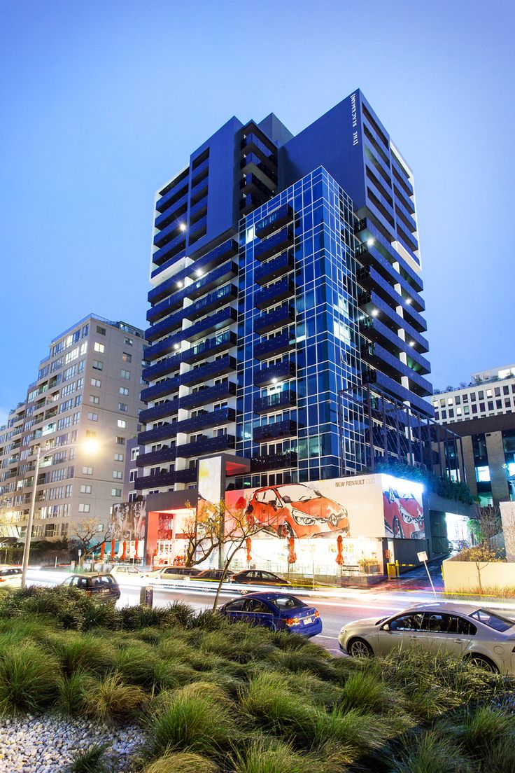 St Kilda Road apartments at dusk