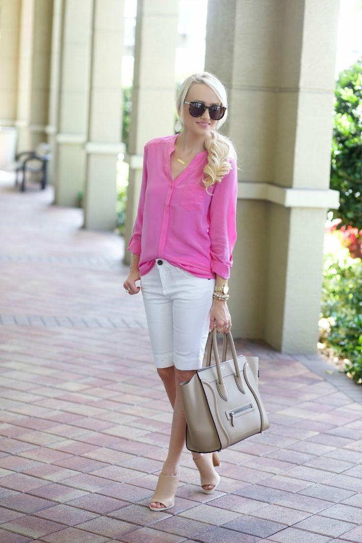 Schöne Länge der Shorts, lässige, aber irgendwie elegante Bluse, Absätze natürlich.   – Stitch fix Preppy/Vintage