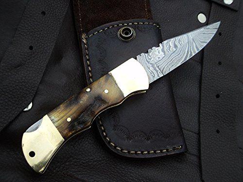 "Amazon.com : DKC-728 GOLDEN STAG Rustic Stag Horn Damascus Steel Folding Pocket Knife Black-White Bone 6oz 7"" long 3"" Blade DKC KNIVES : Sports & Outdoors"