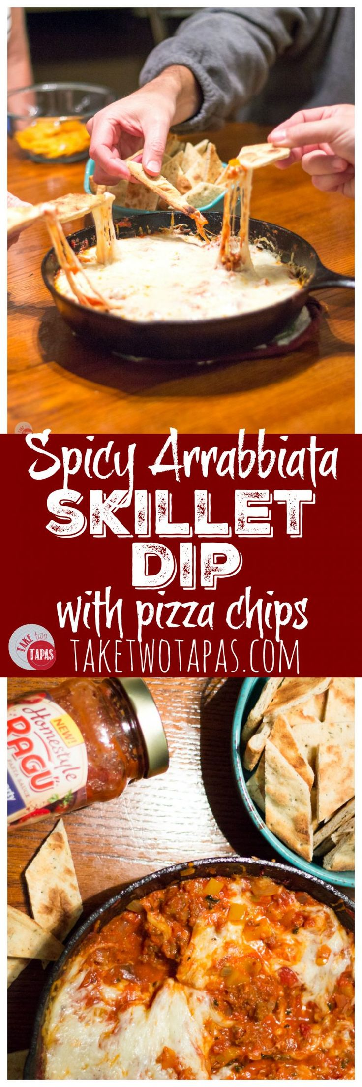 Slow simmered arrabbiata sauce mixed with sausage and veggies and topped with cheese makes the perfect dip to share with friends! Arrabbiata Skillet Sausage Dip with Pizza Chips Recipe | Take Two Tapas