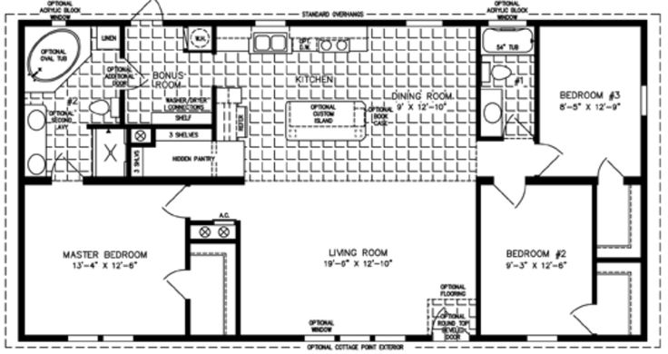 3 bedroom mobile home floor plan bedroom mobile homes for Modular homes plans with 2 master suites