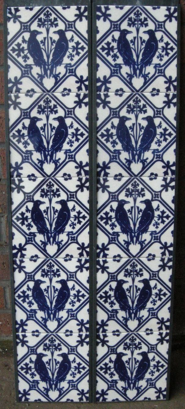 Gothic Pugin Fireplace Tiles Set Ravens