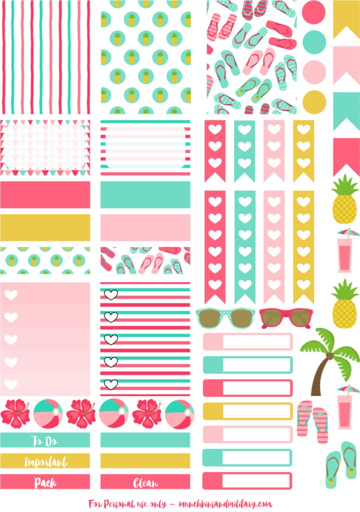 Tropical beach fun printable planner stickers - perfect for an Erin Condren Life Planner - cut file for Cricut and Silhouette