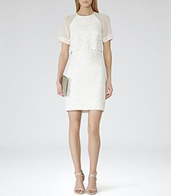 Womens White Floral Overlay Dress - Reiss Calla