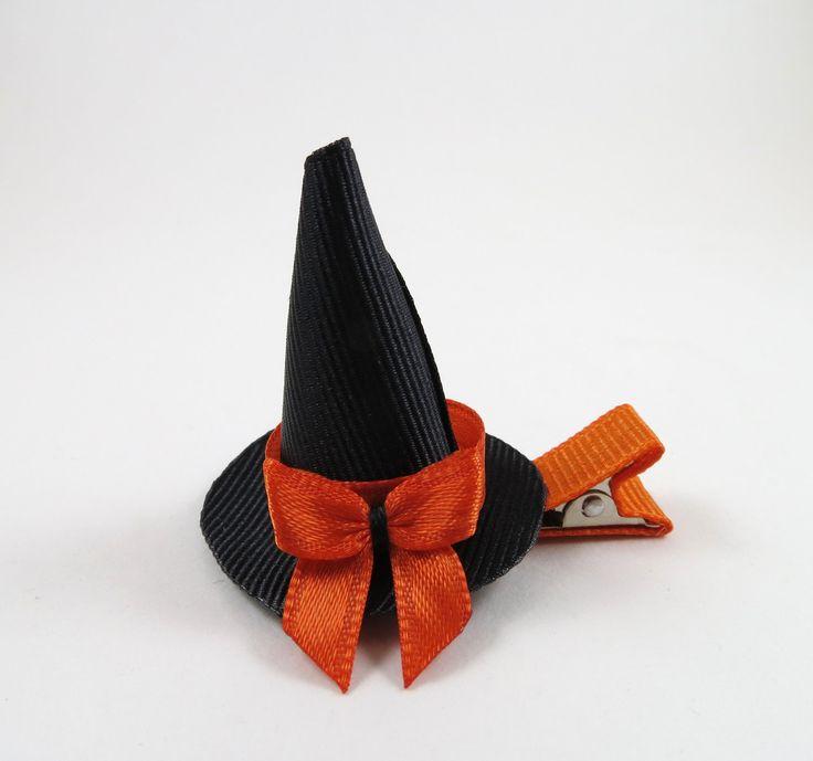 Halloween Witch Hat Hair Clip - Halloween Ribbon Sculpture - Mini Small Witch Hat - Black Orange Hair Clip - Halloween Hair Bow. $4.00, via Etsy.