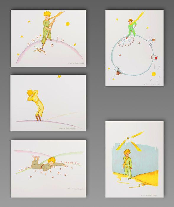 """Antoine de Saint-Exupéry - Set van 5 steendrukken van """"Le Petit Prince"""" (de kleine prins)  Antoine de Saint-Exupéry (na) - Set van 5 steendrukken van """"Le Petit Prince"""" (de kleine prins)Set bestaat uit 5 steendrukken na de aquarel illustraties door Antoine de Saint-Exupéry en van de 20 kleuren litho's portefeuille """"Le Petit Prince"""" (""""de kleine prins"""").Plaat ondertekend-uit de editie van 300 gepubliceerd door Michel de Seguins in Parijs en gedrukt in onze werkplaats van Art-lithografieën in…"""