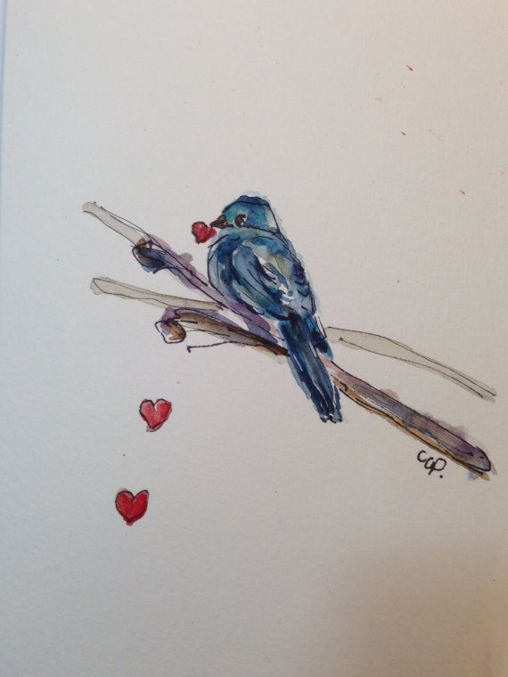 Blue Bird - Red Heart Watercolor Card