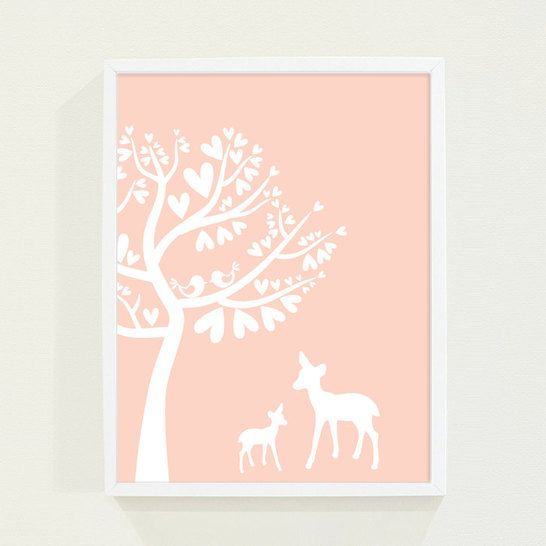 Woodland Custom Nursery Art Poster Print for Girls or Childrens Room in Peach Coral Pastel - Deer and Bird Kids Wall Art - Darby Smart