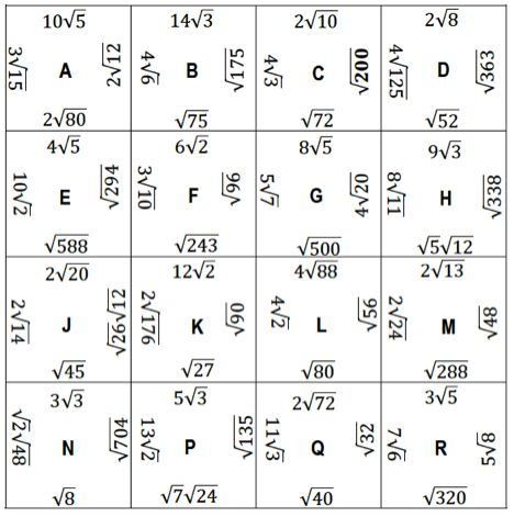 Printables Simplifying Radicals Worksheet 1000 images about simplifying radical expressions on pinterest square puzzle align the radicals that simplify to same radical