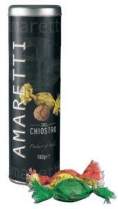 Latta con Amaretti Morbidi Tradizionali - Chiostro Di Saronno - preparati con noccioli di Albicocca, zucchero e bianco d'uovo.