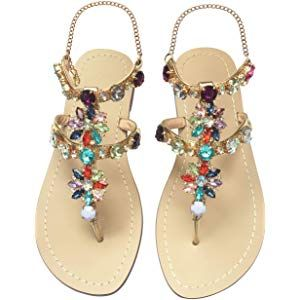 917fb6e840fbf1 JF shoes Women s Crystal Rhinestone Bohemia Flip Flops Summer Beach T-Strap Flat  Sandals
