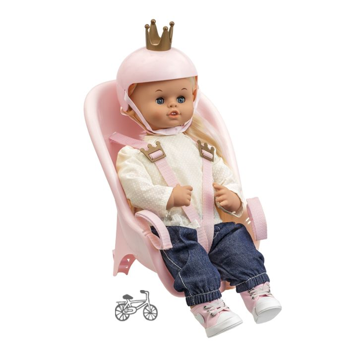 NEW! The talking doll Skrållan has been taking kids on adventures ever since 1966 and with her new bicycle seat and helmet she can now go everywhere. Her playfulness and speech have made her a beloved playmate and Sweden's most popular talking doll.