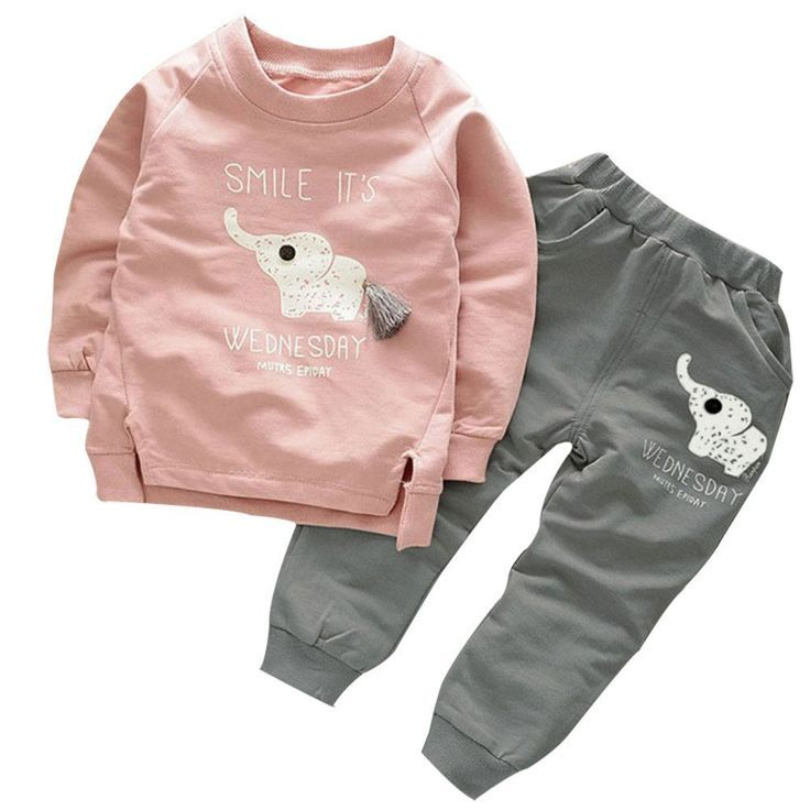 Toddler Baby Girl Boy Cute Elephant Print Clothes Suit Long Sleeve T-shirt Pants 2pcs Outfits Set (2T, Pink). Material:cotton blend,soft and comfortable. Cute elephant print,beautiful and cute design,prefect for girls and boys. Season: Fall,Spring and Winter. Package content:long sleeve T-shirt +pants outfit. Please read size details in product description. The clothes set is in Asian size.
