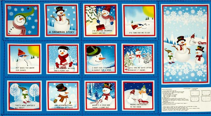 Snowman Story Soft Book Panel from @fabricdotcom  Licensed to Cranston/Quilting Treasures, this cotton print panel measures 24'' x 44'' and features pieces and instructions to sew a soft book. Additional suuplies needed to complete project: 2/3 yard flat batting, 1/3 yard ribbon.