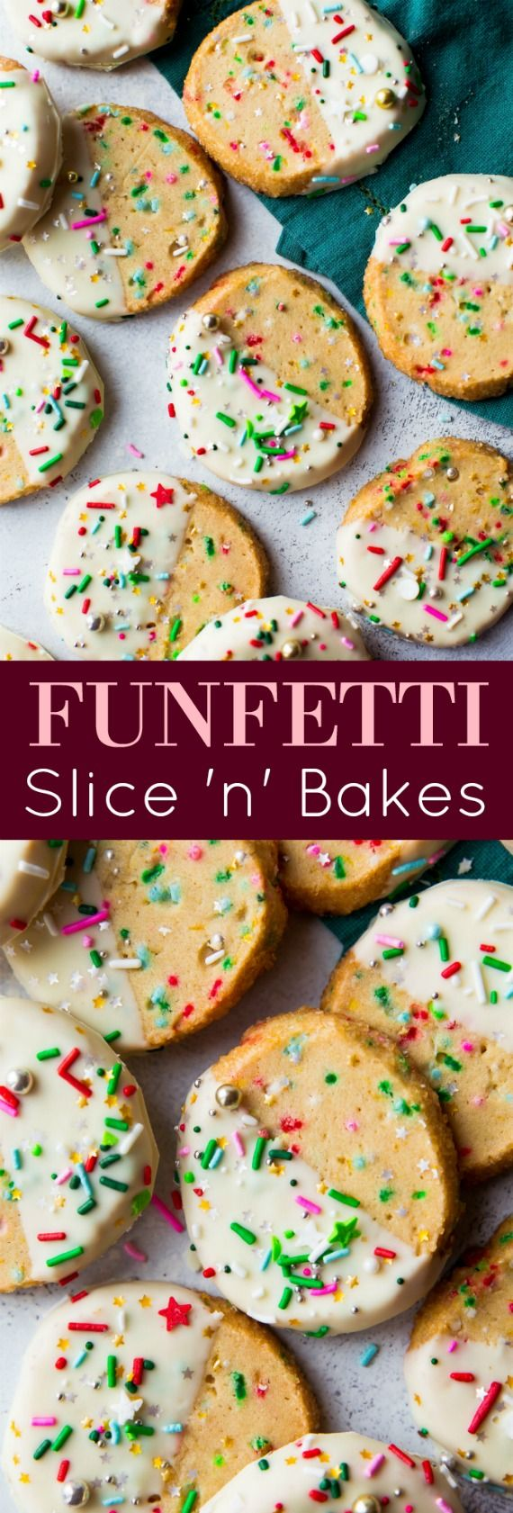 Easy make-ahead slice 'n' bake funfetti sprinkles cookies are prepped in only 1 bowl! Find this cookie recipe on sallysbakingaddiction.com