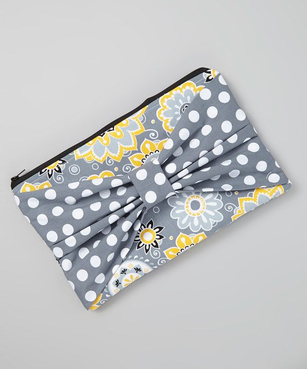 Look at this Yellow & Gray Floral Clutch Diaper Bag on #zulily today!