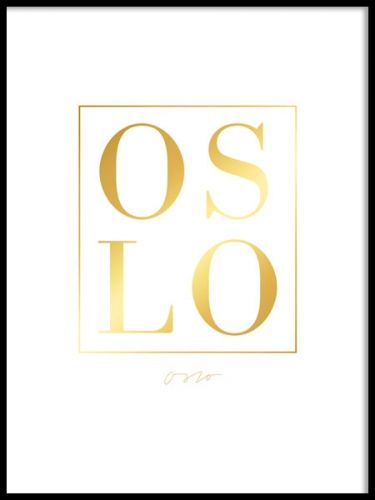 Poster med OSLO i guldtryck.