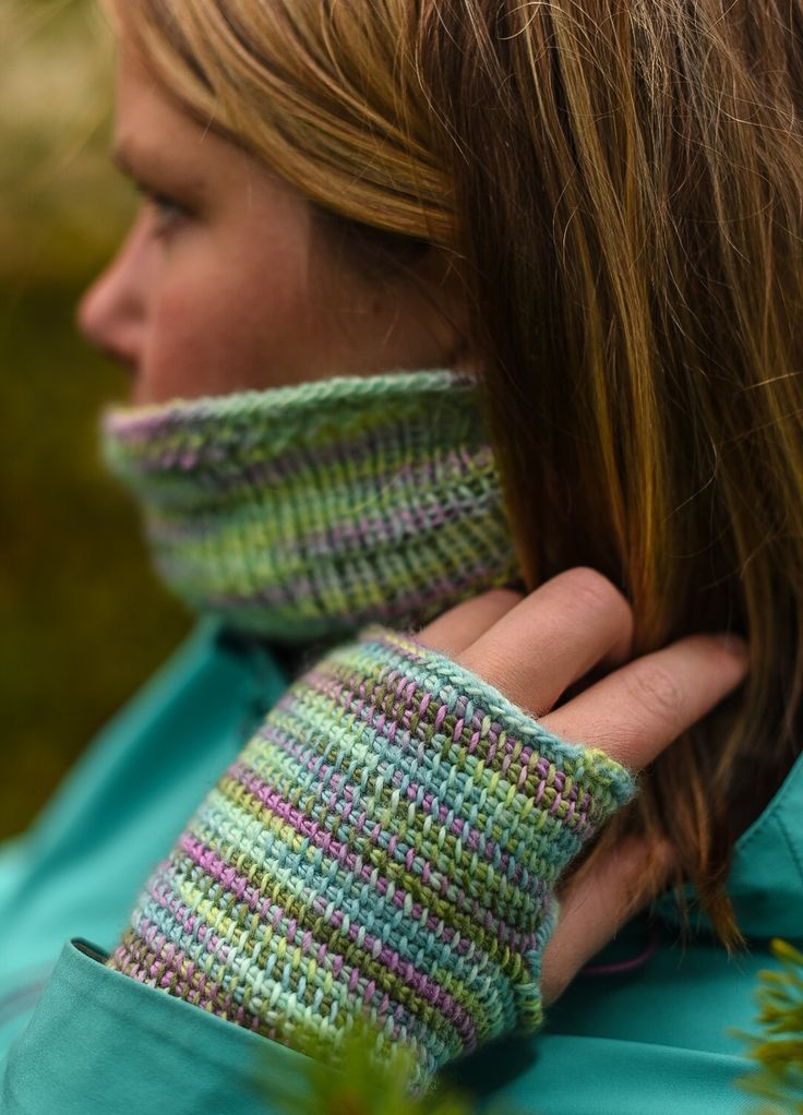 Knitted cowl and afghan crochet fingerless mittens. Yarn from Knitcrate.