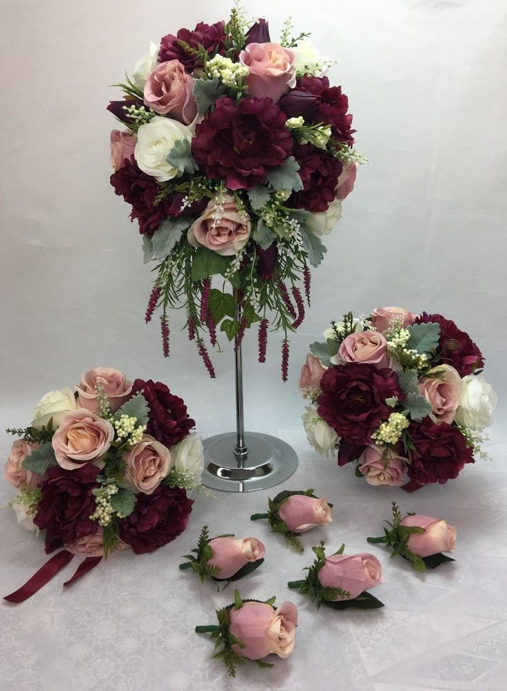 Artificial Flower Burgundy White Dusty Pink Peonies Wedding Bridal