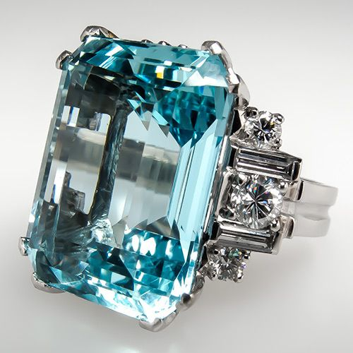 Vintage 16 Ct Aquamarine Cocktail Ring w Diamonds Solid Platinum