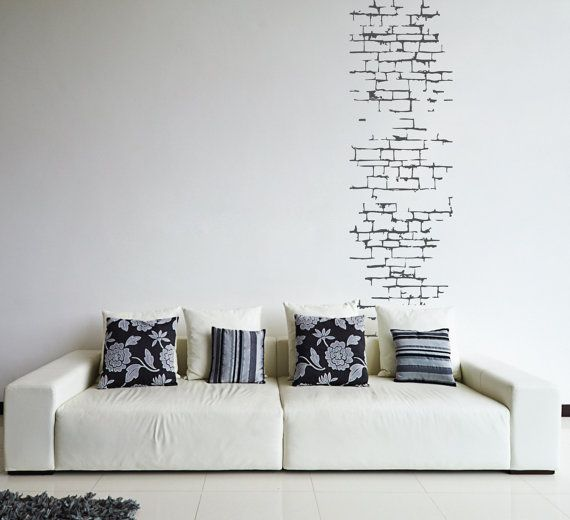 Brick Wall Sticker Pattern Removable Wall Decal By FixateDesigns