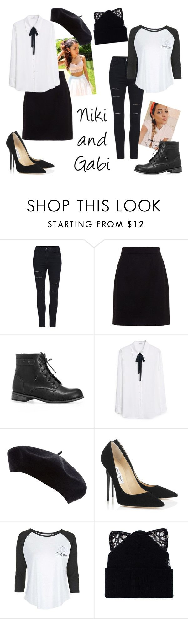 """""""Niki And Gabi Inspired: Black and White"""" by hermoinegranger ❤ liked on Polyvore featuring Dolce&Gabbana, Avenue, MANGO, Jimmy Choo, Topshop, Silver Spoon Attire and nikiandgabi"""