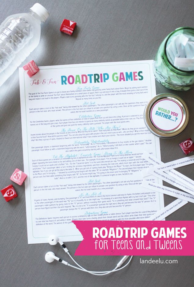 Road Trip Games for Teens and Tweens    Tons of great ideas to get you interacting with your teens as well as an awesome DIY Would You Rather Game!