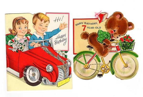 Vintage 1950s Seven Year Old Birthday Cards 7th Birthday Lot of 2 Red Car Glittered Bear on Bicycle Hallmark