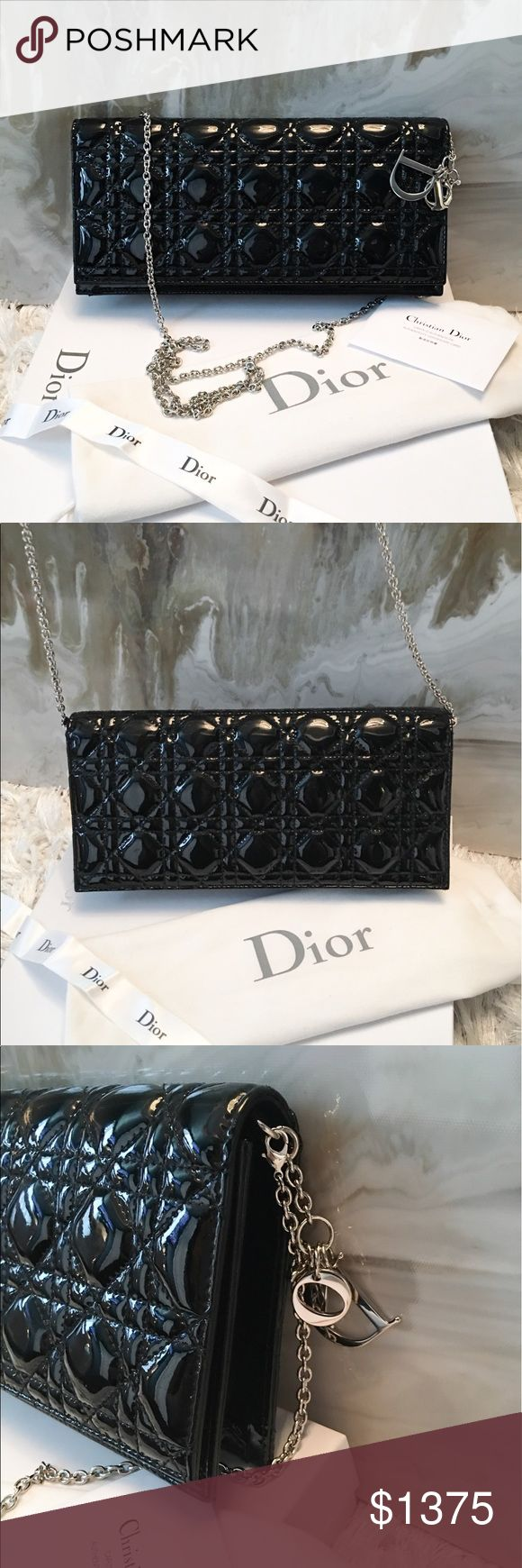 """Dior Lady Dior Patent Black Cannage Chain Clutch Authentic Christian Dior Patent Black Lady Dior Cannage Convertible Clutch Bag.  Signature Dior logo charm at side, detachable silver chain strap that can be worn as a Crossbody, Cannage stitched pattern throughout clutch, snap flap closure. Excellent condition. Comes with dust bag & will provide box shown for protection. Measures approx 10.5"""" x 5"""" Dior Bags Clutches & Wristlets"""