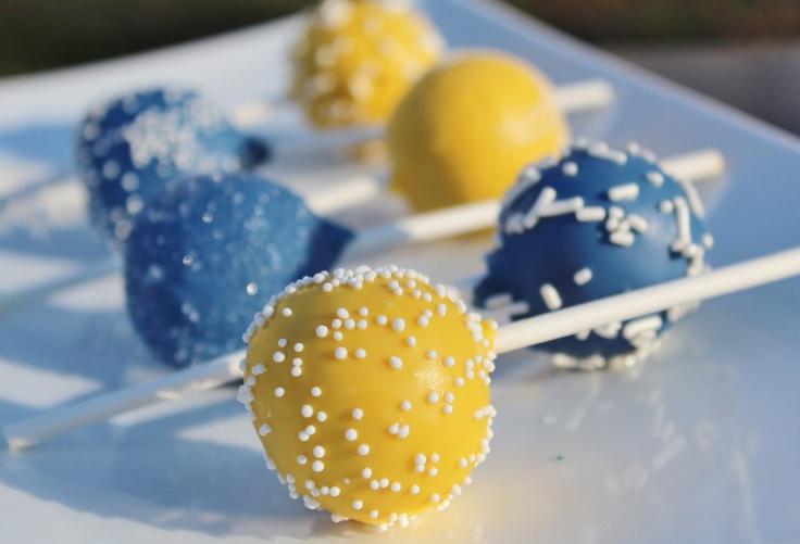 Navy Blue & Yellow Signature Cake Pops. $29.99, via Etsy.