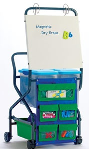 Teacher Trolley - Perfect for roving educators! Rolling cart features a magnetic whiteboard with chart rings and a storage chart to hold tools or magnetic manipulatives. Three small tubs store a collection of readers and two hanging file tubs with lids and handles hold letter-size hanging files.