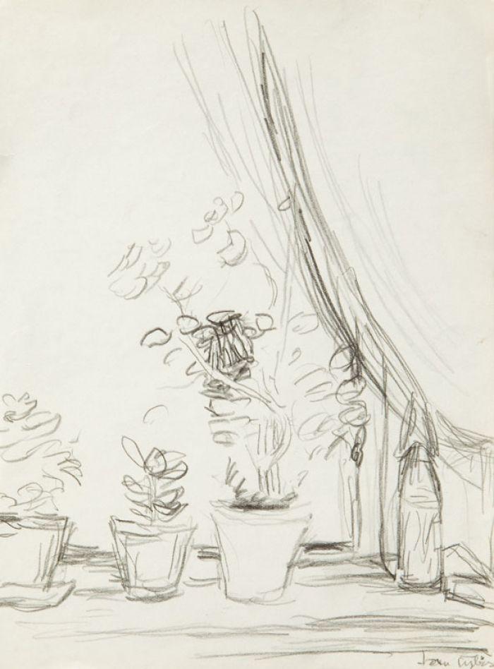 Jan Cybis - Kwiaty na parapecie
