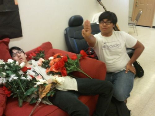 The Art of Rue-ing. How to: 1. Find a sleeping victim  2. Arrange an array of flowers around said victim  3. Perform the District 12 salute  4. Take pictures. Happy Hunger Games! Hahaha! ---- Oh. My. Gosh. Doing this!