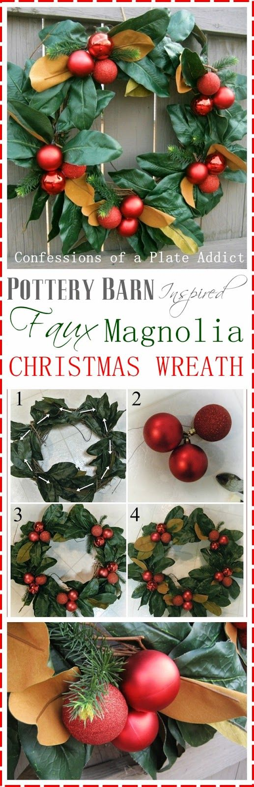 CONFESSIONS OF A PLATE ADDICT: Pottery Barn Inspired Faux Magnolia Wreath