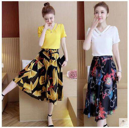 Summer Korean Fashion Temperame T-Shirt Chiffon Divided Skirt Two-Piece Suit