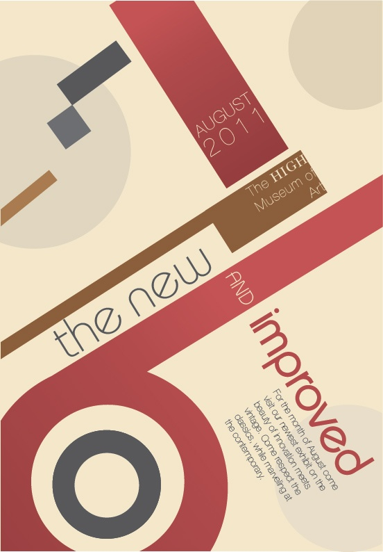 #04 Poster Design. Geometric shaped, typography layout, colour pallet, and the angles are all reflective of the Bauhaus Movement.