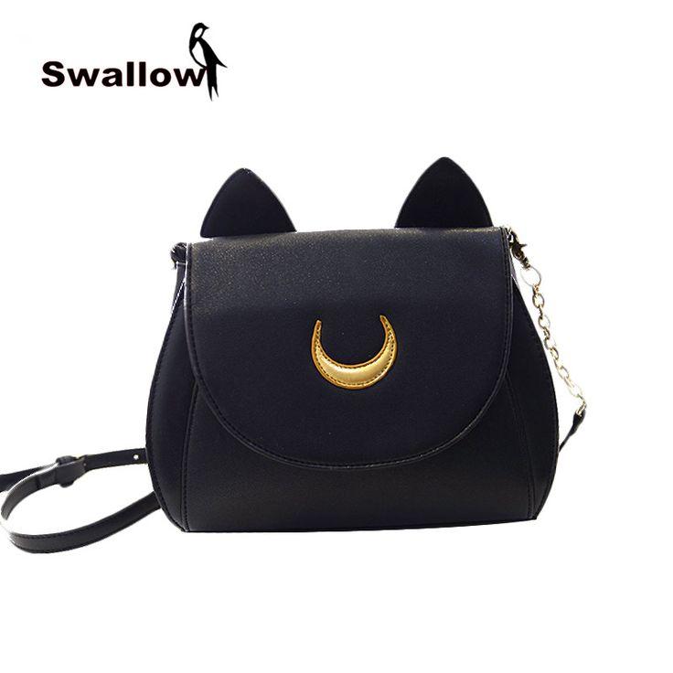 2015 Summer Limited Sailor Moon Bag Ladies Handbag Samantha Vega Luna Kawaii Black White Cat Messenger Crossbody Bag For Women - Top Kawaii - Best Online Kawaii Shop Top Kawaii - Best Online Kawaii Shop